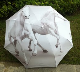 $enCountryForm.capitalKeyWord NZ - 2017 New Novelty Items Oil Painting Arts Umbrella Rain women Creative Famous Brand Mujer Paraguas Anti-UV Fashion Parasol White Horse