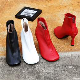 7e4384e4f7059 2018 Newest black red white leather Short Boots high heels runway style  boots women round toe back zipper Ankle Boots