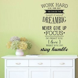 Inspirational Stickers For Walls NZ - 4055 WORK HARD Free Shipping motivation wall decals office room decor Never Give Up DREAM BIG Inspirational Quote wall stickers