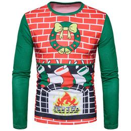 f64431347c48ea Christmas for men s T-shirt Santa Claus Fireplace socks 3d printing  long-sleeved new fashion O-neck long sleeve men s T-shirt