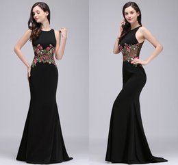 Models Photos Back NZ - Real Photo Black Mermaid Formal Evening Dresses with Embroidery Appliques Jewel Neck Illusion Waist Back Prom Dresses Online Sale CPS716