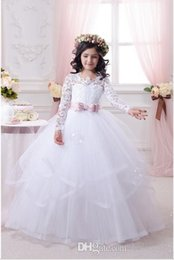 Wholesale Hot sale Lace Applique Flower Girls Dress Long Sleeve Ball Gown Tulle Bow First Communion Dresses Pageant Gown Custom Size