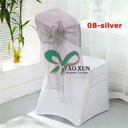 Nylon Chairs Wholesale Canada - White Spandex Chair Cover  White Banquet Chair Cover With Black Chair Sash Free Shipping