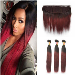 dark roots burgundy brazilian hair UK - Two Tone 1B 99J Wine Red Ombre Full Lace Frontal With Bundles Burgundy Dark Root Ombre Straight Virgin Human Hair With Frontal Closure