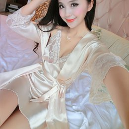 Barato Longo Verão Vestes Senhoras-Atacado- 2017 New Summer Women Long Sleeve Silk Sleepwear Nightgown Set Temptation Sexy Robe Nightdress Two Piece Lady Cute Camisolas