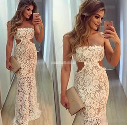 Barato Cintura Natural Sem Alças-Sexy Full Lace Mulheres Vestidos de noite formal Strapless Cintura Corte Bateau Sleeveless Prom Dresses Mermaid Andar Comprimento Plus Size Party Dresses