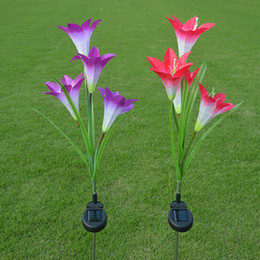 Discount outside lamp decorations 2pcs lot anti-true Solar flowers lamp lily solar lights lawn garden home outside tree decoration