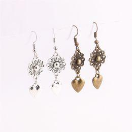 $enCountryForm.capitalKeyWord UK - 12pcs lot Metal Alloy Zinc Love Heart Pendant Leaf Connector Love Charm Drop Earing Pendant Diy Jewelry Making C0664
