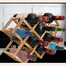 classical wooden red wine rack beer foldable 10 bottle holder kitchen bar display shelf organizer home table decor - Wine Racks For Sale