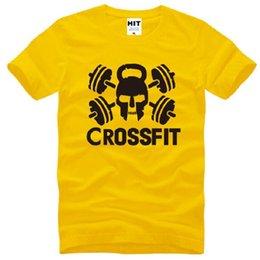 T Shirt Cotton Sport Fashion Canada - New Summer Crossfit T Shirts Men Cotton Short Sleeve Gym Training Skull Men's T-Shirt Fashion Male Sport Fitness Swag Tops Tees