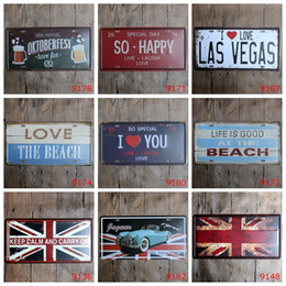 license plate europe NZ - Beach Las Vegas Keep calm Car Metal License Plate Vintage Home Decor Tin Sign Bar Pub Cafe Garage Decorative Metal Sign