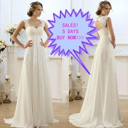 Barato Casamento Barato Da Linha Da Qualidade-Cheap High Quality A-Line Weddign Vestido Lace Chiffon Open Back Empire Waist Vestidos de casamento de praia Capped Shoulder Sweep Train Custom Made