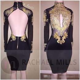 Robes Longues Et Courtes À Manches Longues Pas Cher-Sparkly Shiny Black Crystal Beaded Robes de cocktail manches longues Short Prom 2K17 Robe Homecoming Luxe Mini Party Formal Prom Gown