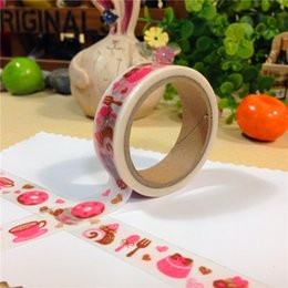 Barato Máscara De Papel Diy Para O Rosto-Atacado - 2016 Novo 15 mm * 6m DIY Colored Cake Japanese Paper Washi Tapes / Masking Tape / Decorative Adhesive Tapes / School Supplies
