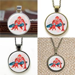 Spiderman necklaceS online shopping - 10pcs Superhero ASD2 SpiderMan Art Glass Photo Necklace keyring bookmark cufflink earring bracelet
