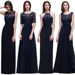 Barato Vestidos Vintage Superiores-Cheap Navy Blue Long Chiffon Vestidos de dama de honra unbder 50 Lace Top 2017 Pavimento Length Beach Wedding Guest Gowns Country Maid of Honor Dress