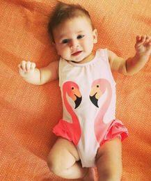 Girls Flamingo Dresses Canada - 2017 children girl baby swimsuit black swan pink flamingo melon parrot swimsuit swim cap princess dress A17080425