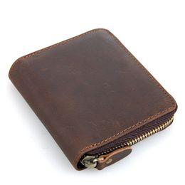 $enCountryForm.capitalKeyWord NZ - Vintage genuine Leather Men Wallets Zipper Around small One-Folder Mini Purse for Male PR8083