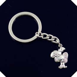 Barato Anel De Torneira De Metal Mans-New-fashion-men-30mm-keychain-DIY-metal-holder-chain-vintage-cock-galo-23-15mm-antique-silver chaveiros