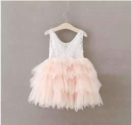 Vestidos De Novia Para Bebés Niñas Baratos-2017 Baby Girls Lace tutu Vestidos Niños Niñas Princesa Pom Pom Cake Dress Babies Pearl Wedding Party Dress Childrens Summer clothing