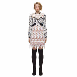 women white linen dresses NZ - new fashion Boho Inspired 2019 vintage Guipure Lace patchwork floral party dresses Long Sleeve black and white women dresses vestidos brand
