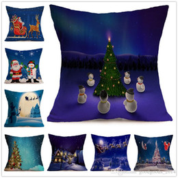 christmas design case 2019 - 32 Design Christmas Pillow Case Series Cushion Cover Santa Claus Christmas Tree Christmas Gifts And Snowman Printing Thr