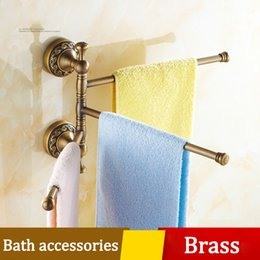 classical bathroom towel bar thickened carved pedestal toilet towel coat rack wall shelf exquisite brass hardware accessories holder retail nz4675