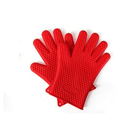 Chinese  2pcs Food Grade Heat Resistant Thick Silicone Kitchen Barbecue Oven Glove Cooking Non Stick BBQ Grill Gloves Mitt Baking Glove - Red manufacturers