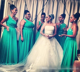 Dresses Size Juniors Canada - One Shoulder Green Chiffon Bridesmaid Dresses Crystals Beads 2017 Junior Wedding Guest Formal Dress Long Length Plus Size Prom Party Gowns