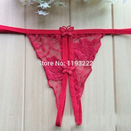 10a421cf676 Women Sexy Lingerie Sheer Lace Floral Open Crotch Bow Bowknot Low Rise  Briefs Thongs T Back G String Knickers Panties