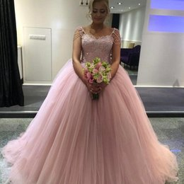 Barato Azul Real Mais Rosa-Blush Pink Ball Vestido Quinceanera Vestidos Sweetheart Beaded Sleeves Tulle Floor Length Plus Size Prom Dresses Sweet 16 Dresses