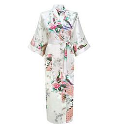 b23427ccdb Wholesale- Hot Sale White Femmes Rayon Robes Gown Kimono Yukata Chinese  Women Sexy Lingerie Flower Sleepwear Plus SizeS M L XL XXL XXXL