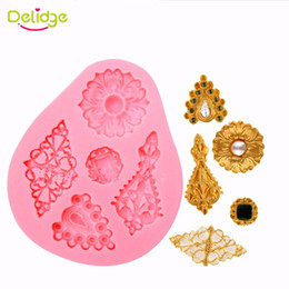 Mold jewelry online shopping - Delidge pc Shape Diamonds Cake Mold Vintage Diamond Jewelry D Silicone Cake Mould For Cake Decorating Non Stick Fondant Mold