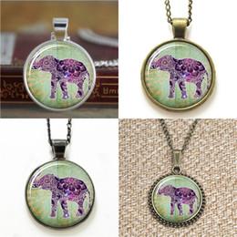 purple elephant necklace 2019 - 10pcs Lucky Elephant Boho Jewelry Purple Henna Bohemian Art Necklace keyring bookmark cufflink earring bracelet cheap pu