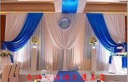 10ft by 20ft white wedding backdrop with royal blue swag stage curtain wedding decoration
