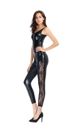 Catsuit En Dentelle Pour Femmes Pas Cher-Sexy Catsuit Femmes sans manches Bondage exotique Fancy Costume devant à Crotch Zipper Jumpsuit Lace Legs Playsuit