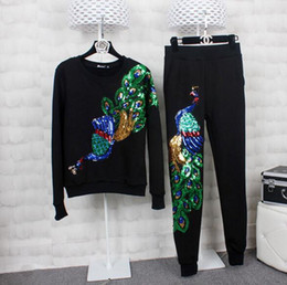 8f65c0ae0bbea Peacock feather embroidery online shopping - Autumn And Winter Womens  Sweatshirts Round Neck Long sleeved Embroidered
