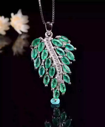 Gold Emerald Pendant Canada - Luxury emerald pendant 20 pcs 2.5*5mm natural emerald pure 925 sterling silver emerald leaf pendant fashion emerald jewelry for woman gift
