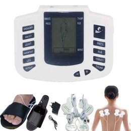 Electrical Stimulator Canada - Whole English Key New Electrical Muscle Stimulator Body Relax Muscle Massager Pulse Tens Acupuncture Therapy Slipper+10 Pads+Retailbox