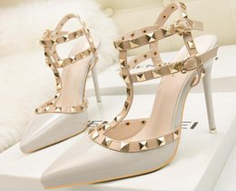 Glitter Prom Pumps NZ - Size 34-39 2017 New Fashion high heels women pumps thin heel classic white red leather bottom nede beige sexy prom wedding shoes