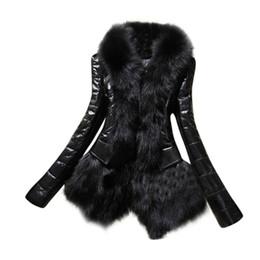 Ladies Designer Jackets UK - New Winter Designer Coat Women Warm Faux Fur  Collar Coat Leather 6a5a9271e