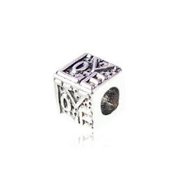 $enCountryForm.capitalKeyWord NZ - European Silver Plated Big Hole Charms Spacer Loose Beads Fit Pandora Bracelets 925 Jewelry Love Cube for Sale Girls Mom Jewelry Making DIY