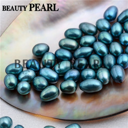 rice pearls mix Canada - Wholesale 30 Pieces Rice Peacock Blue and Green Freshwater Pearls Half-drilled Teardrop Peacock Loose Pearl Mixed 6-9mm