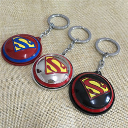 Superhero Keychains Canada - Wholesale 10pcs lot Movie Superhero Superman Keychain High Quality Enamel Rotatable Pendant Key Ring Size 5cm Blister Package