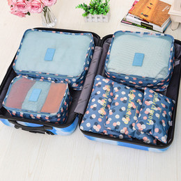 Food Divider NZ - Travel Storage Bags Set Portable Tidy Suitcase Organizer Clothes Packing Home Closet Divider Container Bag 6PCs High Quality