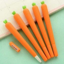 $enCountryForm.capitalKeyWord NZ - 10pcs lot Novelty Fresh Carrot Shape Gel Ink Pen Promotional Gift Stationery School Office Supply Birthday Gift for Kid Children Material Es