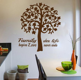 family love wall decor Canada - Modern Home Decor Swirl Tree Wall Sticker Quote Vinyl Removable Family Where Life Begins Love Never Ends