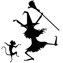China Hot Sale Dance Witch And Cat Funny Vinyl Car-styling Car Sticker Decals Accessories Decorative JDM suppliers