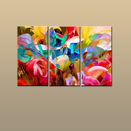 Best Gift 3 Panel Modern Art Wall Giclee Print For Living Room Home Decor  Color Flower Abstract Painting Printed On Canvas HD Picture