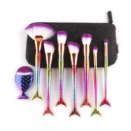 Bags Fish Scale Australia - 8pcs Mermaid Makeup Brushes for Foundation Powder Contour Fish Scales Multipurpose Beauty Rainbow Cosmetic Makeup Brush Sets Kits with Bag